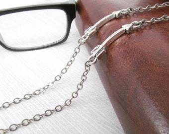 Antique Silver Glasses Chain for Men with Arrow Accents - Glasses Cord  - Eyeglass chain - Eye Glass Chain - Mens Glasses Holder with Chain