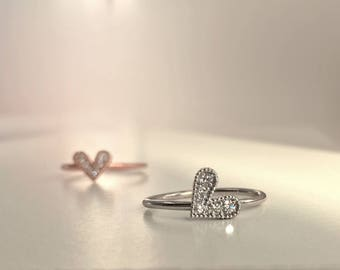 Gold Heart Ring With Diamonds - 14k or 18k Yellow, Rose or White Gold, Heart Stack Ring, Angled or Vertical