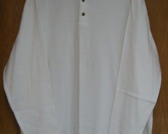 vintage mens white cotton henley by 'Structure' . . . . size extra large . . .  like new . . .  100% cotton