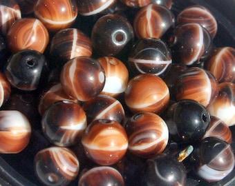 SALE Beads 50 Czech glass brown with white swirls