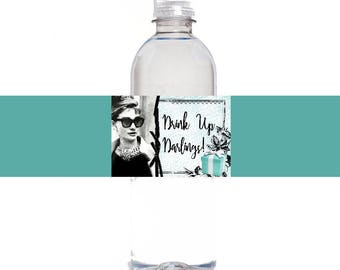 Breakfast At Tiffany's Drink Up Darlings Bridal Shower Water Bottle Labels, Instant Download, Breakfast At Tiffanys Party Decor