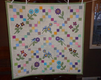 Irish Chain with Bluebirds and Flowers, Country Decorator quilt 0313-01
