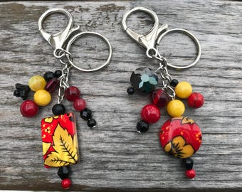 Keychains for Women, Boho Keychain, Flower Keychain, Purse Charm, Bag Charm, Purse Charm for Handbags, Beaded Keychain, Bookbag Charm, Boho