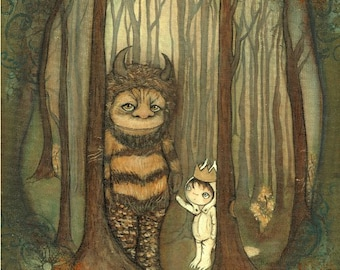 Wild Things Print Where The Wild Things Are Children Moishe Wall Art Forest Dream Monster Max Carol 11 x 14