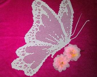 Butterfly doily lace crochet handmade cotton white.
