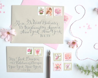 Pink Wedding Stamps Vintage Wedding Postage Stamp Pink Flower Suite for Mailing Invitations