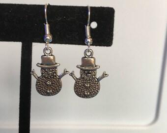 Silver snowman snowmen earrings
