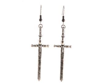 Fighting Sword Earrings Dangle in Metal on Surgical Steel Hooks or Clip Ons