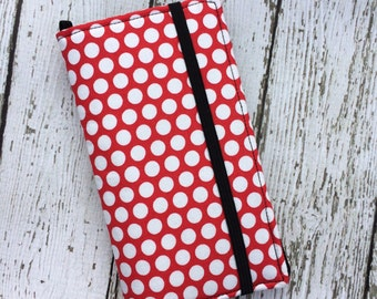 iPhone wallet case -Red with white polka dots wallet with removable gel case