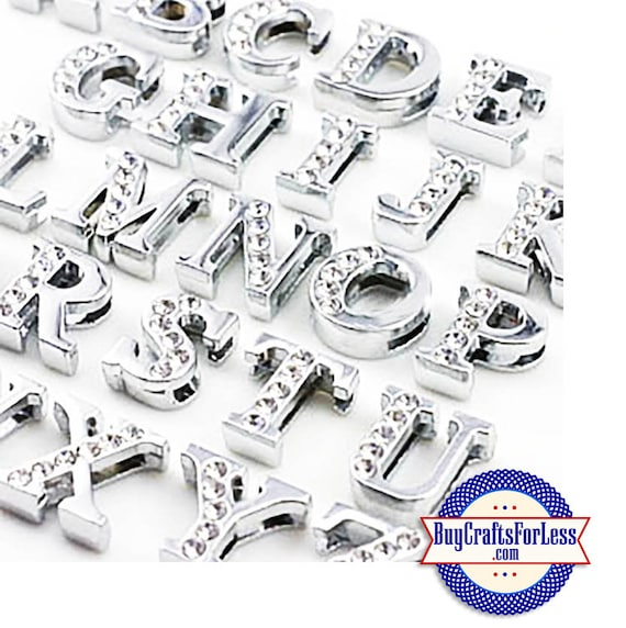 99cent Shipping*-Rhinestone Silver Slide LETTERS for 8mm bracelets, chokers, collars, key rings +49cent addt'l item & Discounts