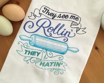 They See Me Rollin' Kitchen Towel, Hostess Gift, Shower Gift