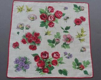 Sale - Vintage Floral Cotton hankie Handkerchief