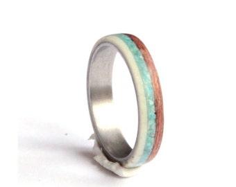 Titanium Womens Ring, Deer Antler Ring, Wood Ring with Turquoise Inlay, Womens Antler Wedding Band