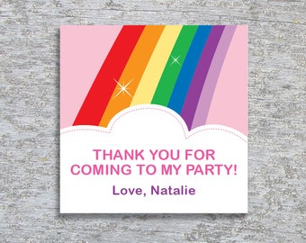 Personalized Rainbow Party Favor Tags or Stickers – DIY Printable (Digital File)