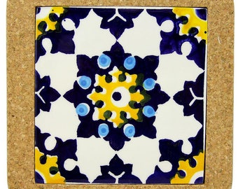 Hand-painted Portuguese Arabic Tile Trivet With Cork