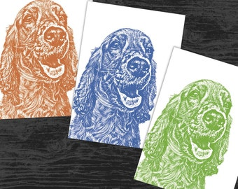"Tri-Color Custom Pet Portrait - Three 5x7"" Prints - Gifts For Mom, Gifts For Dad"