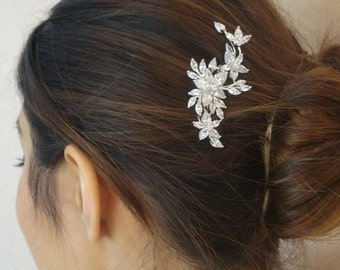 Bridal Zirconia Crystal Hair Comb, Wedding Jewelry, Small or Large, Silver, Rose Gold , Agnes - Ships in 1-3 business Day