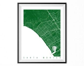 Santa Monica Map Art Print / Santa Monica City Poster / Santa Monica Wall Art / California/ Gift / California home decor