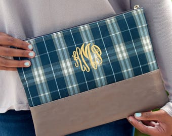 Monogrammed Middleton Plaid Zip Pouch