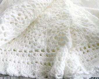 White Baby Blanket- Granny Squares- Crochet- Made To Order- Hand Crocheted Baby Afghan- Boy or Girl- Christening, Baptism