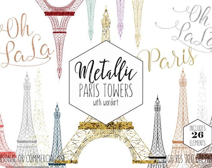 PARIS EIFFEL TOWER Clipart for Commercial Use Clip Art Rose Gold French Word Art Oh La La Metallic Foil Confetti Girly Fun Digital Graphics
