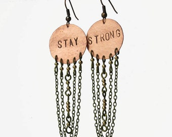 long copper earrings hammered circle earrings dangle copper disc earrings
