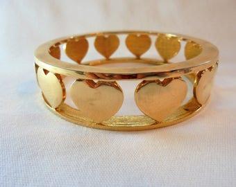 Vintage NOIR Heart Bangle Bracelet Gold Plated Tone Large Chunky Mod Designer High End Retro Art Deco Statement