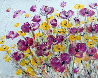 PURPLE YELLOW 60x48 Flowers Painting Acrylic on Canvas Whimsical MIST Floral Art by Luiza Vizoli
