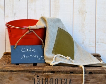 Linen Cafe Apron NATURAL  French country  Linen / shabby chic kitchen