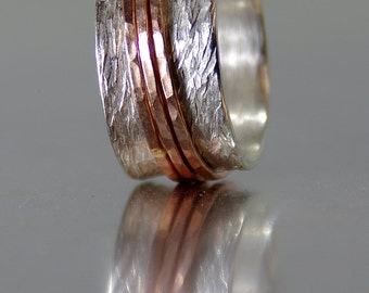 Alternative Wedding Rings, Handmade Silver and 14k SOLID Rose Gold Wedding Bands, Eco Friendly, Custom Rings, Alternative Engagement Rings