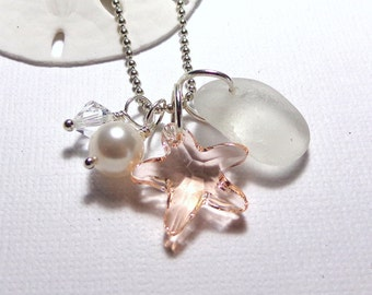 White Sea Glass Jewelry Champagne Crystal Starfish Necklace