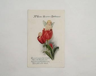 c1910 Birthday Postcard, Fairies in Tulip Blossoms