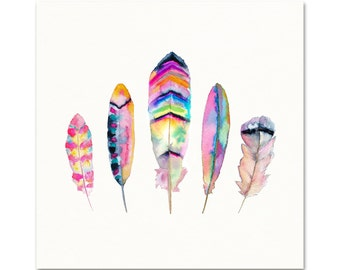 Tribal Watercolor Feather Art Print. Pink / Blue / Purple Tribal Feather Art. Watercolor Boho Feathers. Bohemian Dorm Wall Art. Modern Boho.