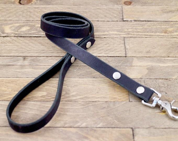 Dog leash, lead , Silver hardware, Leather lead, Sturdy lead, Charcoal black colour, Handmade leather leash, Dog walk.