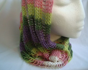 Green Purple Knit Cowl Infinity Scarf Lightweight Handmade Spring Accessory for Women, Friend Mother Gift, Ready to Ship