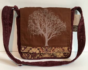 Willow Tree Messenger Bag Brown & Cranberry 10 x 10