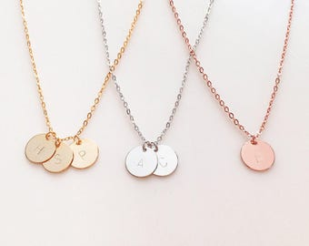Monogram Necklace Initial Monogram Necklace Mom Bride Gift Wedding Gift Sentimental Gift Christmas Baby Announcement- CN *