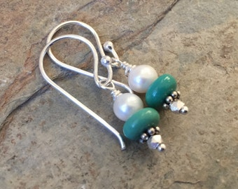 Turquoise and Pearl Earrings with Sterling Silver, 1.25 inches