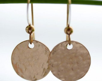 Hammered Simplicity Earrings in 14K Gold-Filled
