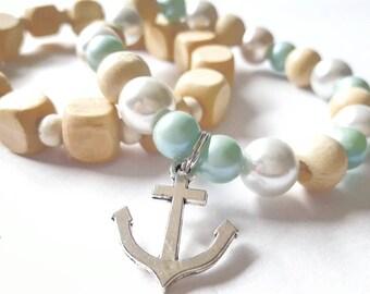 Bracelet set | beaded bracelets  | beaded jewelry | stretch bracelet | wood bead bracelet | stackable bracelet | boho bracelet | nautical