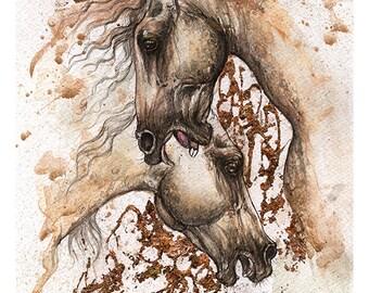 Andalusier, Bekämpfung von Szene, Pferdekunst, equine Kunst, original Stift und Aquarell-Malerei
