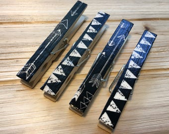 Black and White Magnets, Clothespin Magnets, Arrow Magnets, Decorated Clothespins, Magnet Clips, Black Fridge Magnets, Black Organizing Clip