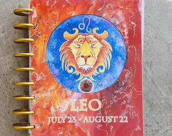 Classic Planner Cover - Leo Planner Cover - Zodiac Planner - Planner Accessories - Disc Bound Planner Accessories - Lion Art