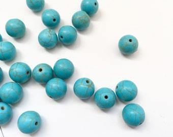 15 Lose Perlen - 12mm Türkis Howlith Edelstein Perlen - blauen Perlen