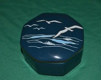 Vintage Otagiri Japan Blue Octagonal Jewelry Trinket Box The Sea Seagulls Birds Ocean Scene