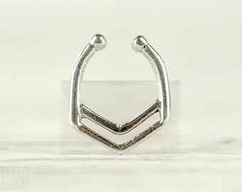 Fake Nose Ring Fake Septum Ring Body Jewelry Sterling Silver Bohemian Fashion Indian Style - SE028F