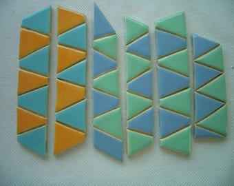 JBT - BLUE, JADE Triangles - Ceramic Mosaic Tiles
