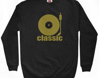 Classic Sweatshirt - Men S M L XL 2x 3x - Crewneck, Hip Hop, Music, DJ, 45 Adapter, Soul - 3 Colors