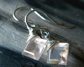 Bright sterling silver and perfect soft pink rose quartz diamond cut earrings - Handmade jewelry