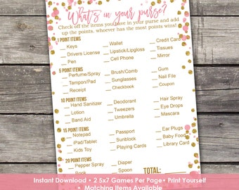 Pink and Gold Whats in Your Purse Baby Shower Game - Baby Shower Games - Activities - Baby-244